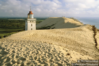 Lighthouse engulfed by sand dunes