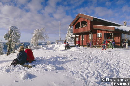 A mountain chalet halt for skiers