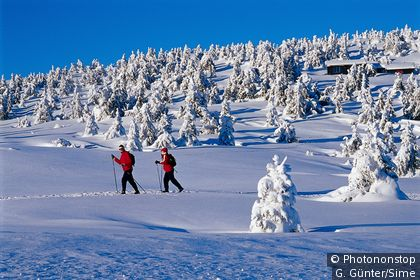 Couple skiing in the Norwegian landscape