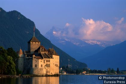 Chillon Castle on the banks of Lake Geneva