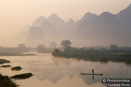 China, Guangxi Province, Guilin / Yangshou, Li River / Typical Scenery / Limestone Mountains & River / Dawn