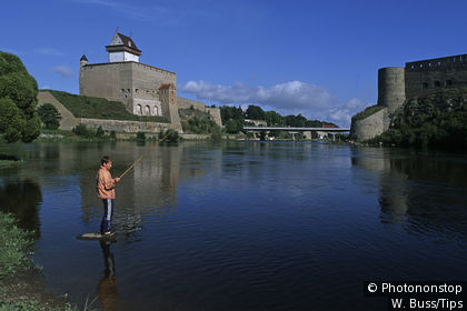 The Narva Fortress and Ivangorod Fortress on the banks of the Narva River