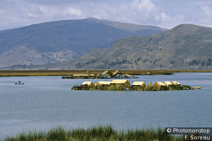 The floating islands of Urus on Lake Titicaca