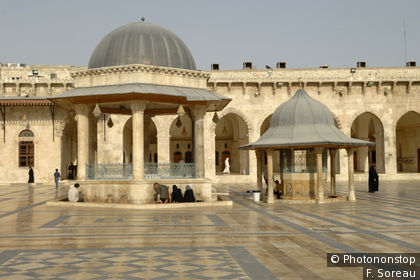 The Ablution Fountain in the outer courtyard of the Great Mosque of Aleppo