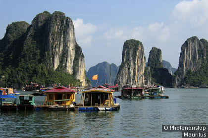 Floating houses in Ha Long Bay in the Gulf of Tonkin