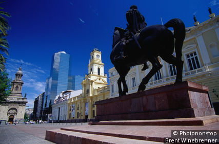 Equestrian statue on Santiago's central Plaza de Armas.