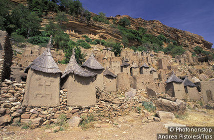 Mali, Dogon Country. Dogon Cliff Villages