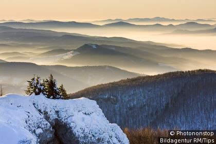 Winter morning on Klak, Mala Fatra Mountains, protected landscape area, Slovakia, Europe