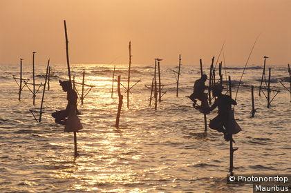 Sri Lanka, Ahangama, Meer, Stelzenfischer, Abendlicht Südasien, Insel, Inselstaat, Süden, Südwestküste, Küste, Meer, Indischer Ozean, Männer, Fischfang, Angeln, traditionell, Eigenart, Fangmethode, Tradition, Wirtschaft, Pfähle, Stelzen, sitzen