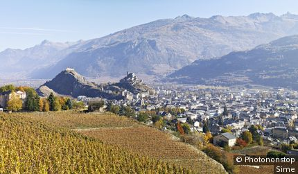 Rhone valley, view of the town.
