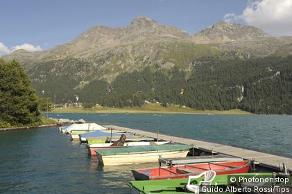 Switzerland, Engadina, S. Moritz, Silvaplana lake with Kitesurf