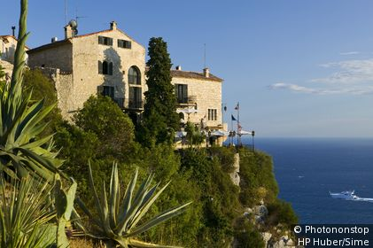 France, Provence-Alpes-Côte d'Azur, Èze - Jardin Exotique in Eze Village with view of Chateau Eza, Departement Alpes Maritimes, Provence Alpes Cote d'Azur, France