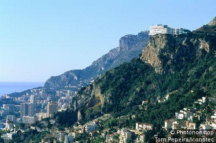 France, Alpes Maritimes (06), Provence-Alpes-Côte d'Azur, Monaco et La Turbie depuis le château de Roquebrune
