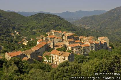 Corsica. Medieval village of Sainte Lucie de Tallano in the Rizzanese Valley. Alta Rocca. France.
