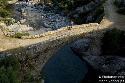France, Corsica, Calacuccia, bridge