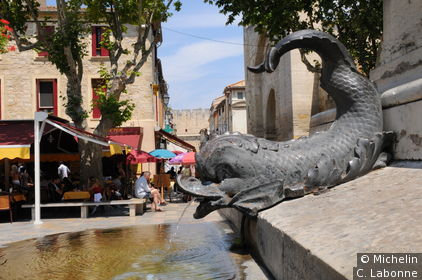 Détail de la fontaine sur la place Saint Louis