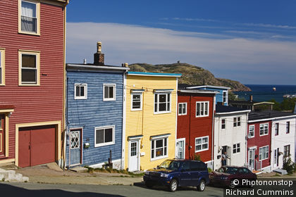 Canada, Newfoundland, St John's, Colourful house facades.