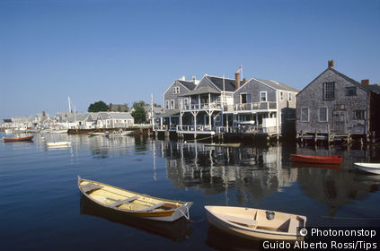 Usa, Massachusetts, Nantucket. Houses facing the harbour