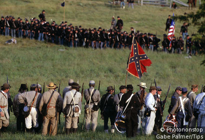 Battle lines of a civil war reenactment, july 4th Gettysburg, Pennsylvania, USA