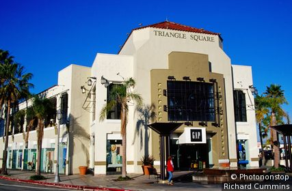 Fountain and entrance to Triangle Mall. New Port Beach, California, United States of America