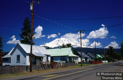 Houses with Mt Shasta in McCloud.
