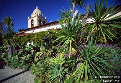 United States, USA, California, Carmel, San Carlos Borromeo de Carmelo Mission, the church from the cloister