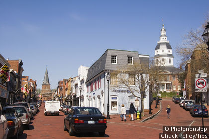 Main street with St. Annes Church and the Maryland State House, Annapolis, Maryland, USA