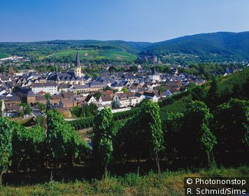 Allemagne, Rhénanie Palatinat, Ahrweiler - View of the town with vineyards, Ahrweiler, Bad Neuenahr Ahrweiler in the Ahrn Valley, Eifel