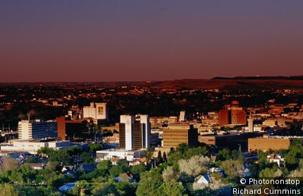 Overhead of buildings and city skyline. Rapid City, South Dakota, United States of America
