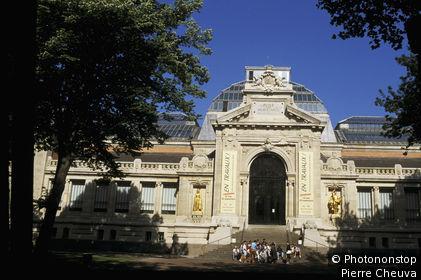 59. Valenciennes, façade du musée des beaux-arts du début du 20 ème siècle, groupe scolaire sur le perron, ciel bleu
