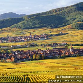 France;Alsace - France, Alsace, View towards Kientzheim and Ammerschwihr villages
