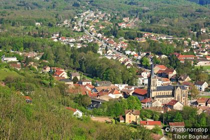 View of Ronchamp from the chapel of Notre Dame du Haut, Franche-Comte, France