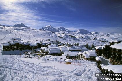 La Plagne en hiver, vue générale de la station
