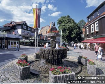 Deutschland, Niedersachsen, Braunlage, Eichhörnchen-Brunnen,
