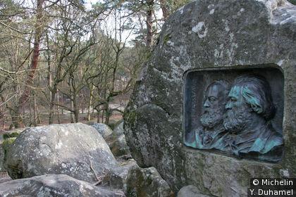 Bronze de Chapu représentant Millet et Rousseau