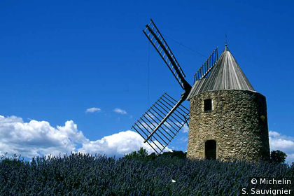 Moulin sur mer de lavande