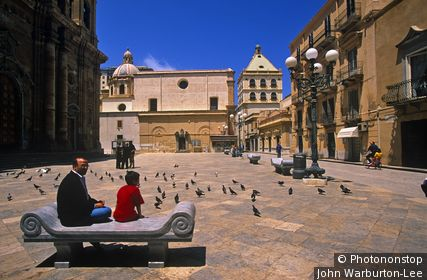 Marsala, Sicily, Italy. Italy, Sicily, Marsala. Sitting in the Republic Plaza.
