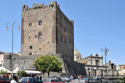 Italy, Sicily, Adrano, Castello Normanno, Castle.