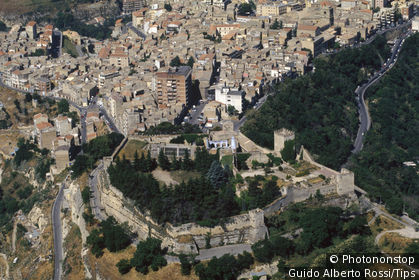Italy, Sicily, Enna, the castle, aerial view