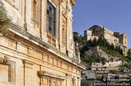Italy, Sicily, Scicli, Santa Maria della Croce Church in background
