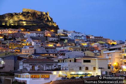 Houses and castle on the waterfront in the evening, Castelsardo, North Sardinia, Italy, Europe