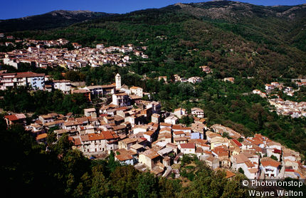 Italy, Sardinia, Tonara, Looking over the town set on the slopes of the Gennargentu Massif.