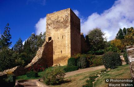 Italy, Sardinia, Ruined (tower) Castello Salvaterra, Iglesias, Iglesiente, Cagliari Province.