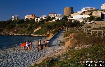 The beach at Spiaggia Grande in Calasetta. Sardinia,Sant' Antioco, Italy