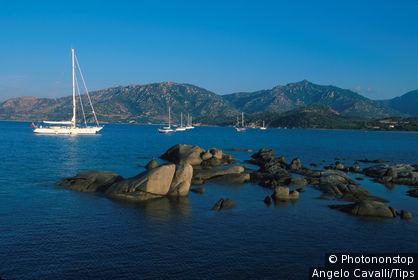 Sardinia, Villasimius. Sea, Boat, Rock