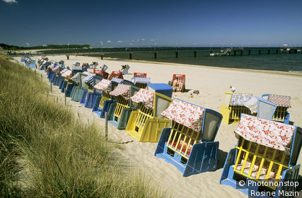Allemagne, ile de Rugen, Binz, Gohren, cabines de plage