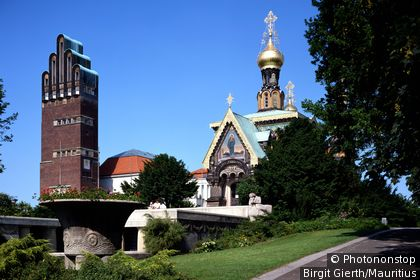 Germany, Hesse, Darmstadt, Mathildenhoehe, Russian chapel, wedding-tower, city, church, chapel, Russian, architecture, sight, landmark, tower, 5-finger-tower, brick-tower, construction, historically, domes, gold,