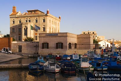Italy, Sicily, Egadi islands, Favignana, Harbour and Villa Florio