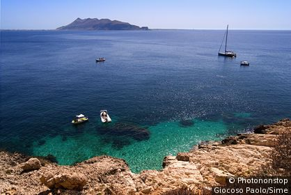 Italy, Sicily, Egadi islands, Levanzo, View towards Marettimo island