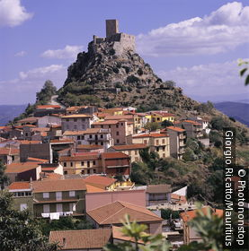 Italy, Sardinia, Burgos, city-overview, mountain, castle-ruin, Castello Del Goceano, island, city, place, fortress, castle, castle, ruin, rise, hills, landscape, overview,